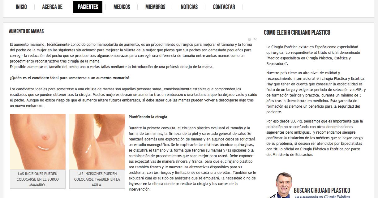 """Comunicado de prensa de la SECPRE acerca de las prótesis mamarias """"PIP"""""""
